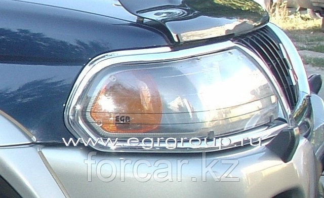 Защита передних фар EGR прозрачная Mitsubishi Pajero Sport 2000-2007, фото 2