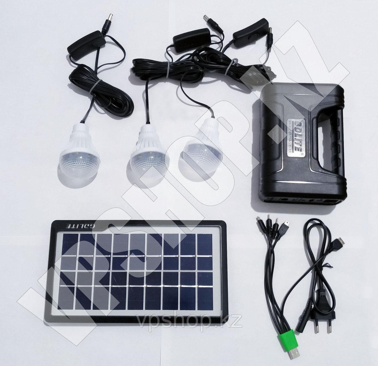 Система освещения на солнечных батареях GDLite + зарядное устройство Power Bank, доставка