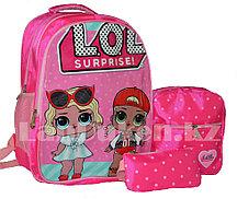 Рюкзак для начальных классов, для школьниц 3 в 1 с ортопедической спинкой, принт LOL 2 куклы (ярко-розовый)