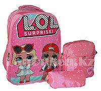 Рюкзак для начальных классов, для школьниц 3 в 1 с ортопедической спинкой, принт LOL 2 куклы (нежно-розовый)