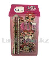 Набор канцтоваров школьный (линейка, два карандаша, два ластика, точилка, блокнот) LOL surprise 8015-116