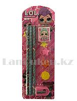 Набор канцтоваров школьный (три карандаша, три ластика, точилка,) LOL surprise QL-1009