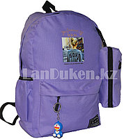 Универсальный школьный рюкзак с пеналом и брелоком сиреневый, надпись The carnival of KKM