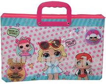 Детская папка портфель с пластиковыми ручками LOL surprise формат А4 розовая