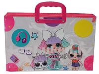 Детская папка портфель с пластиковыми ручками LOL surprise формат А4 розовая прозрачная