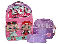 Рюкзак для начальных классов, для школьниц 3 в 1 с ортопедической спинкой, принт LOL 2 куклы (сиреневый)
