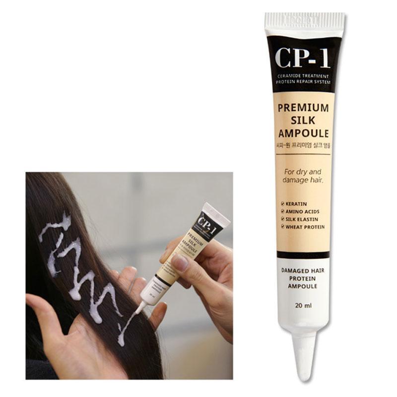 Несмываемая сыворотка для волос с протеинами шёлка CP-1 Premium Silk Ampoule, 20 мл x 4 шт