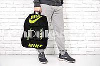 Рюкзак с боковыми карманами и ремешками, черно- салатовой