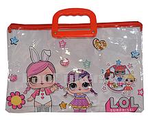 Детская папка портфель с пластиковыми ручками LOL surprise формат А4 красная