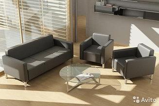 Строгий диван с 2 креслами D-11