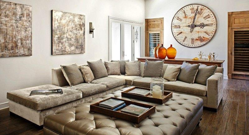 Угловой диван с большим пуфом D-41