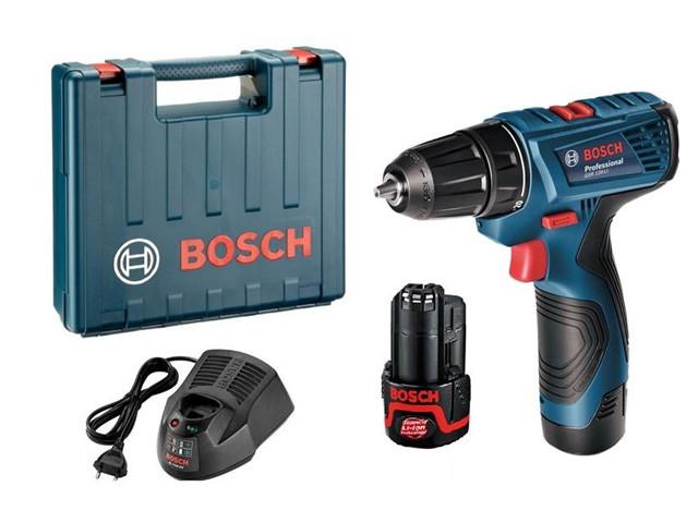 Аккумуляторная дрель-шуруповерт Bosch, GSR 120-LI, Professional, (2 акк. 1.5 Ач) в чемодане