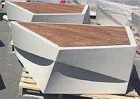 """Скамья - из мраморного композитного камня """"АРХиТАС"""" c деревянным настилом модель: Aregam"""