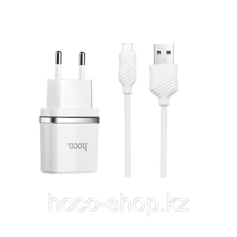 Зарядное устройство C12 Hoco с кабелем Micro, White