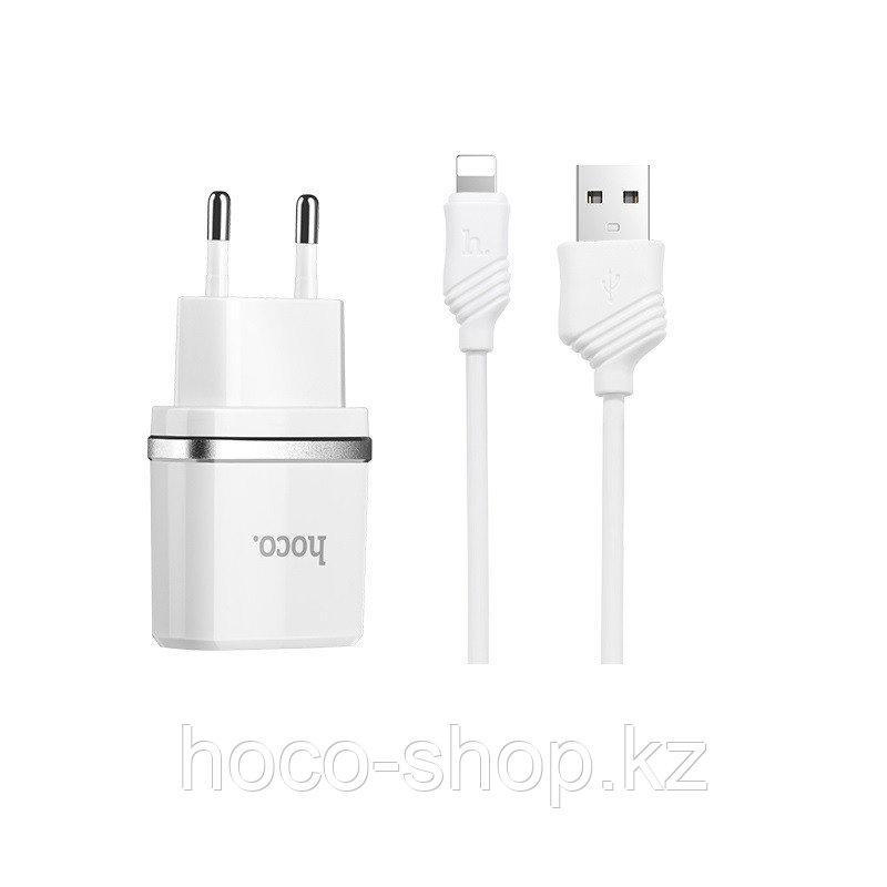 Зарядное устройство C12 Hoco с кабелем Lightning, White