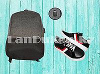 Городской рюкзак с USB портом, серый с черным