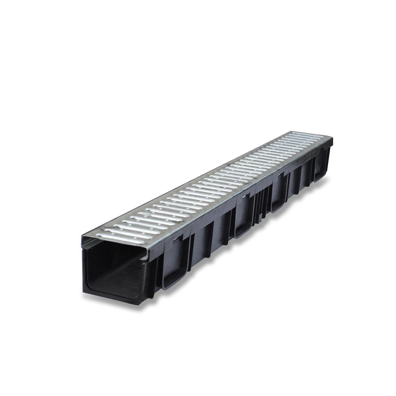 Лоток пластиковый с оцинкованной решеткой 10х14,5 см 1 м/ GIDROLIKA