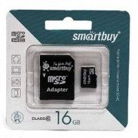 Карта памяти microSDHC SmartBuy 16Gb + adapter 10class