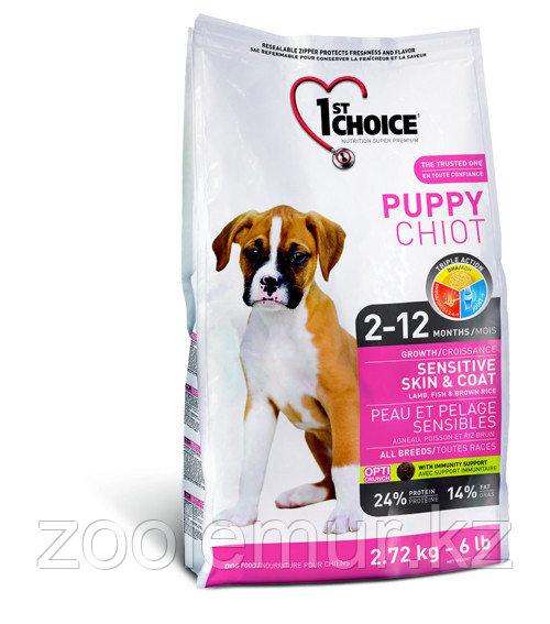 1st Choice Puppy сухой корм для здоровья кожи и шерсти щенков (с ягненком, рыбой и рисом) 6 кг