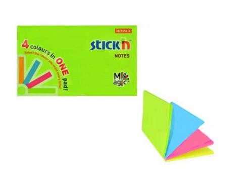 Клейкие листики STICK`N Magic 76 х 127 мм, 4 цвета, 100 листов