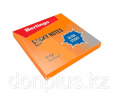 """Клейкие листки BERLINGO """"Ultra Sticky"""" 75х75 мм, оранжевый неон, 80 листов"""