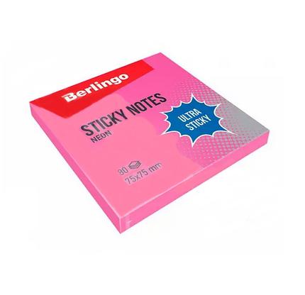 """Клейкие листки BERLINGO """"Ultra Sticky"""" 75х75 мм, розовый неон, 80 листов"""