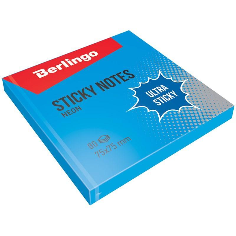 "Клейкие листки BERLINGO ""Ultra Sticky"" 75х75 мм, синий неон, 80 листов"