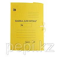 Папка с завязками 370гр цветный желтый