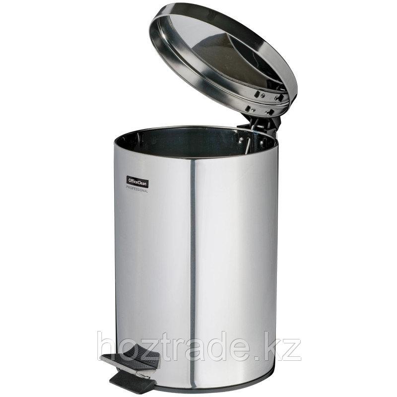 Ведро-контейнер для мусора OfficeClean Professional, 5 л, нержавеющая сталь, хром