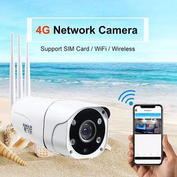 Уличная 4G WI-FI камера видеонаблюдения GSM с подсветкой