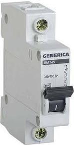 Выключатель автоматический модульный 1п С ВА47-29 25А 4.5кА GENERICA ИЭК MVA25-1-025-C
