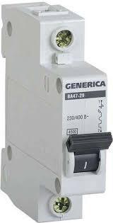 Выключатель автоматический модульный 1п С ВА47-29 6А 4.5кА GENERICA ИЭК MVA25-1-006-C
