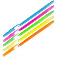 "Ручка шариковая Стамм ""Оптима"" синяя 0,7 мм корпус неон, ассорти"