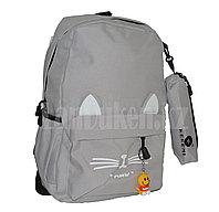 Универсальный школьный рюкзак с пеналом с ушками кошки и брелоком серый