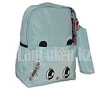 Универсальный школьный рюкзак с пеналом с глазами мятный
