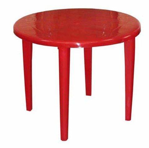 Стол круглый, d 90см, красный, ПП