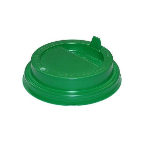 Крышка д/стаканов, д/хол./гор., d 90мм, зелён., с клапаном, ПС, 1000 шт, фото 2