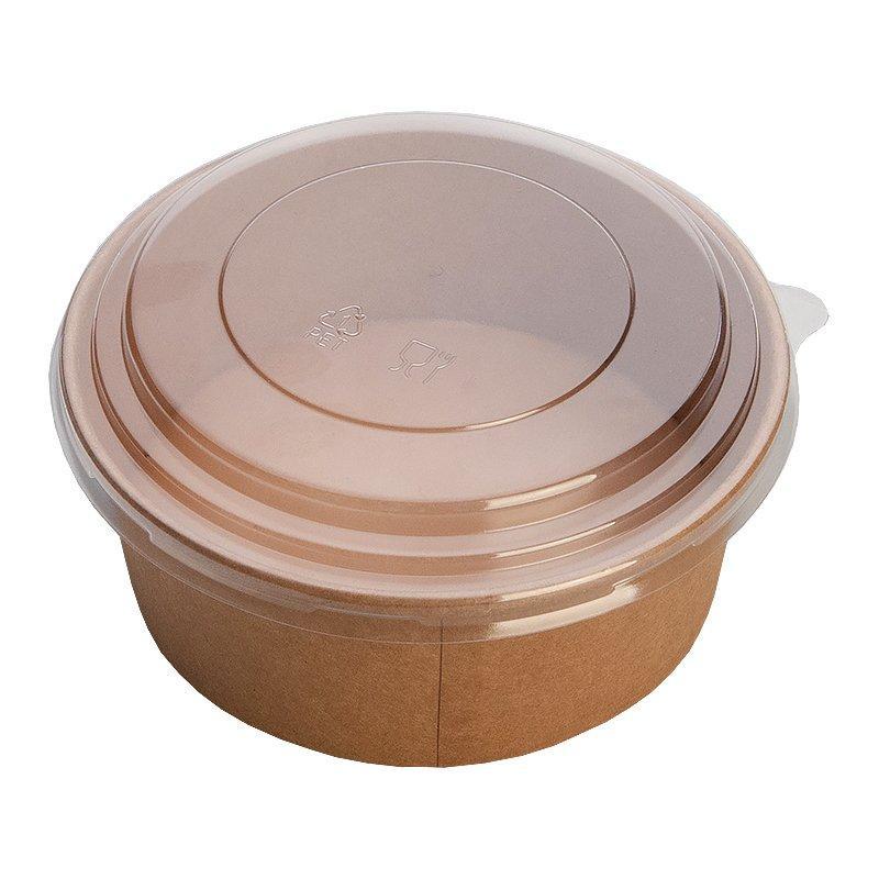 """Упаковка (Салатник) """"DoEco"""" Pure Kraft верх. d-186мм, нижн. d-160мм, h-68мм, 1420 (1300 + 120) мл, крафт, ECO"""
