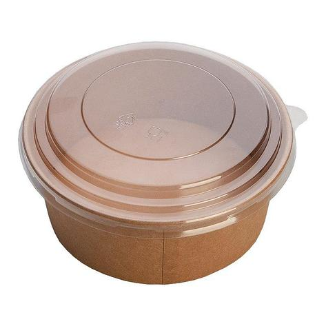 "Упаковка (Салатник) ""DoEco"" Pure Kraft верх. d-186мм, нижн. d-160мм, h-68мм, 1420 (1300 + 120) мл, крафт, ECO, фото 2"