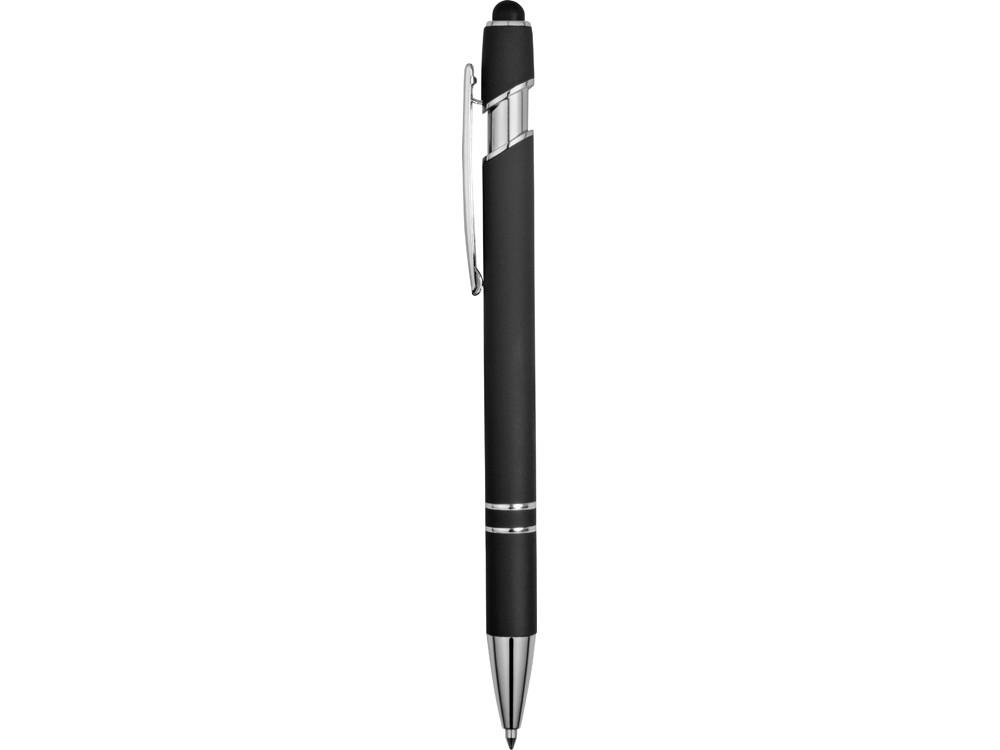 Ручка металлическая soft-touch шариковая со стилусом Sway, черный/серебристый - фото 3