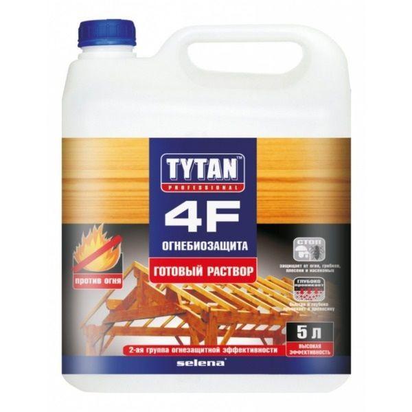 Огнебиозащита, готовый раствор 4F, красный 5 л/ TYTAN