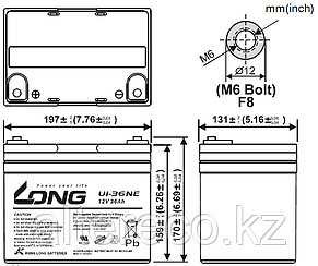 Аккумулятор LONG U1-36NE (12В, 36Ач), фото 2