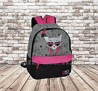 Универсальный школьный рюкзак с кошкой в очках серый с розовым