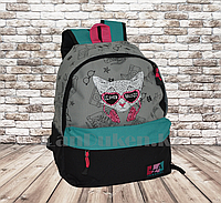 Универсальный школьный рюкзак с кошкой в очках серый с бирюзовым