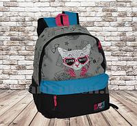 Универсальный школьный рюкзак с кошкой в очках серый с синим