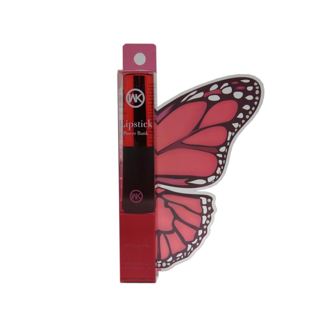 Внешний аккумулятор Power Bank WK WP004 Lipstick 2400 Mah Red