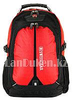 Городской рюкзак SWISSGEAR с дождевиком и USB портом красный 7228
