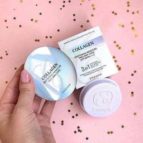 Enough Collagen 3 in 1 Whitening Moisture Two Way Cake/ Коллагеновая пудра 3 в 1 ( 13гр+ запас)