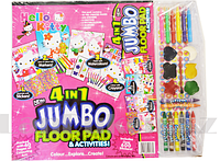 Набор детский для рисования Hello Kitty 4 в 1 (раскраска, фломастеры, восковые мелки, акварельные краски)