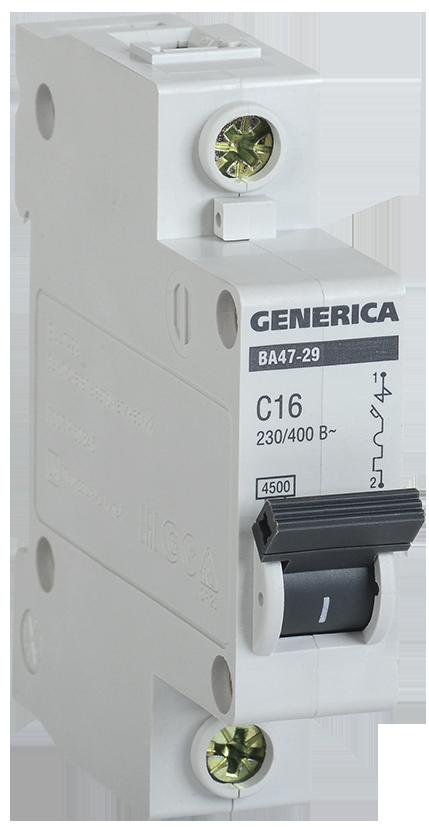 Выключатель автоматический модульный 1п С ВА47-29 10А 4.5кА GENERICA ИЭК MVA25-1-010-C